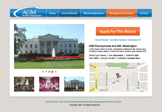 Screenshot of AGM Property Management Site Design